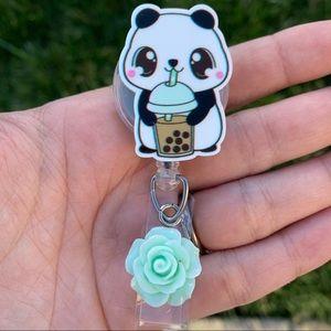 Cute Panda Coffee Lover Badge Holder